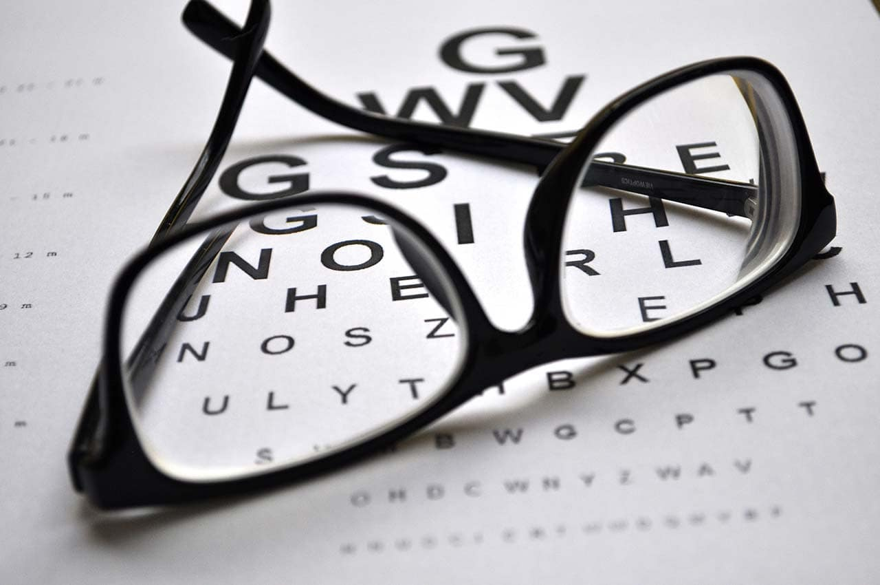 Eye Glasses on Eye Exam Chart